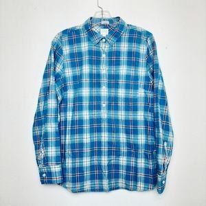 J Crew Perfect Fit Henley Button Up Plaid Shirt M
